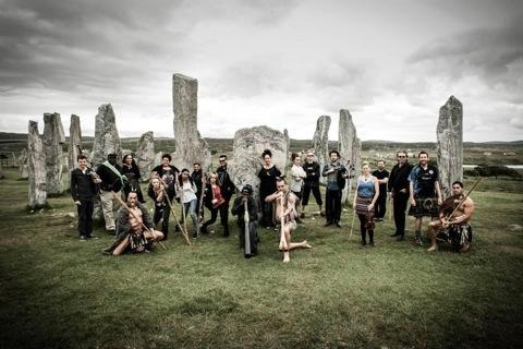 Boomerang at Callinish stones, photo by Leila Angus